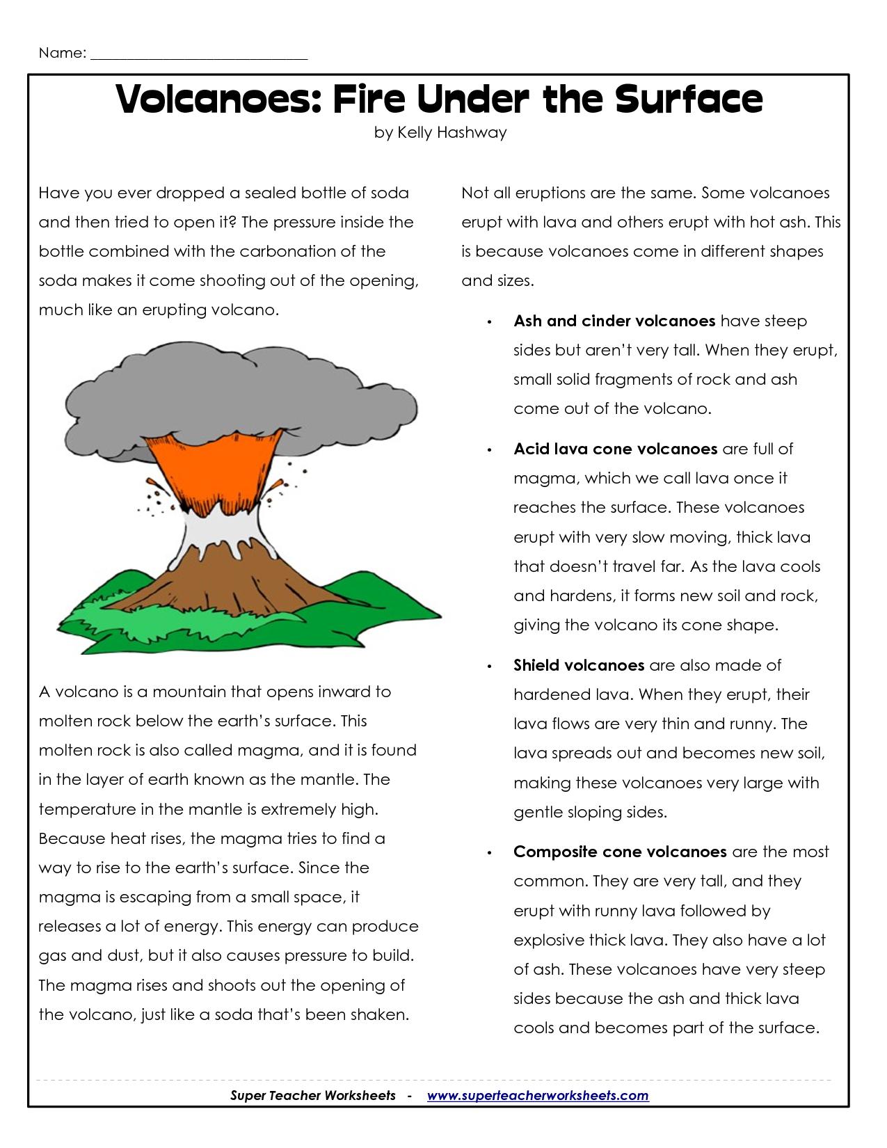 Parts Of A Volcano Printable | Volcano Worksheets | Science Lessons | Printable Volcano Worksheets