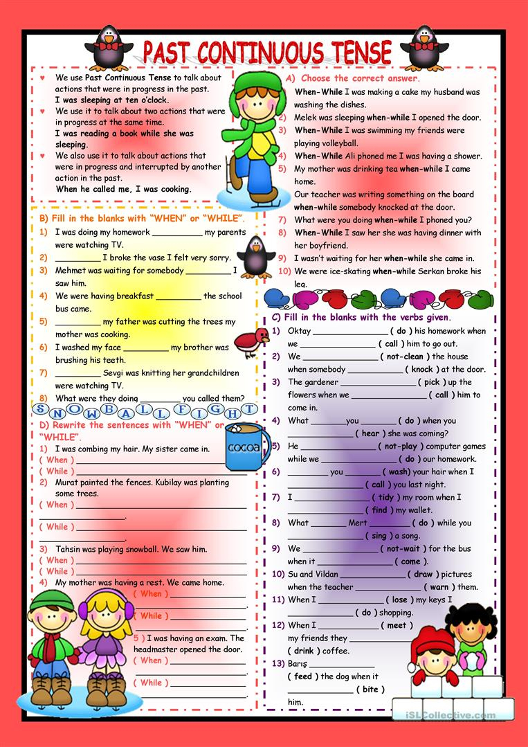 Past Continuous Tense Worksheet - Free Esl Printable Worksheets Made | Past Progressive Tense Worksheets Printable