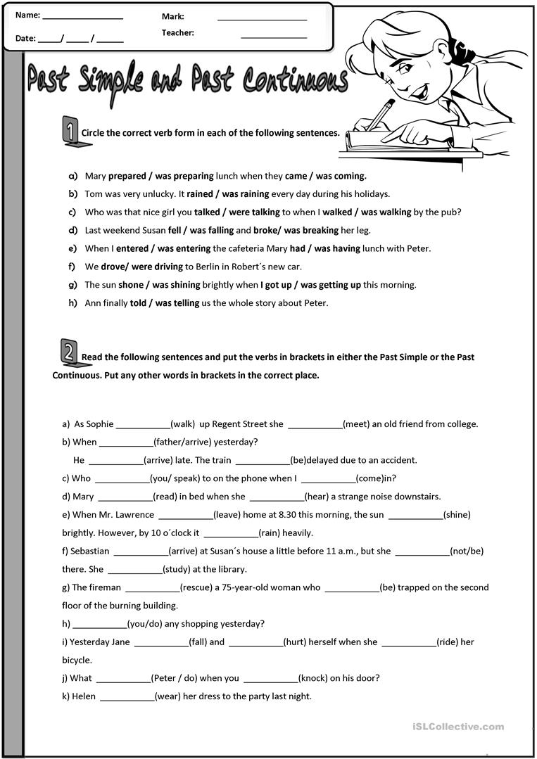 Past Simple And Past Continuous Worksheet - Free Esl Printable | Past Progressive Tense Worksheets Printable