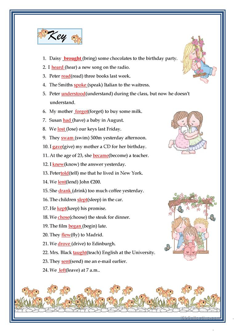 Past Simple - Irregular Verbs Worksheet - Free Esl Printable | Free Printable Irregular Verb Worksheets