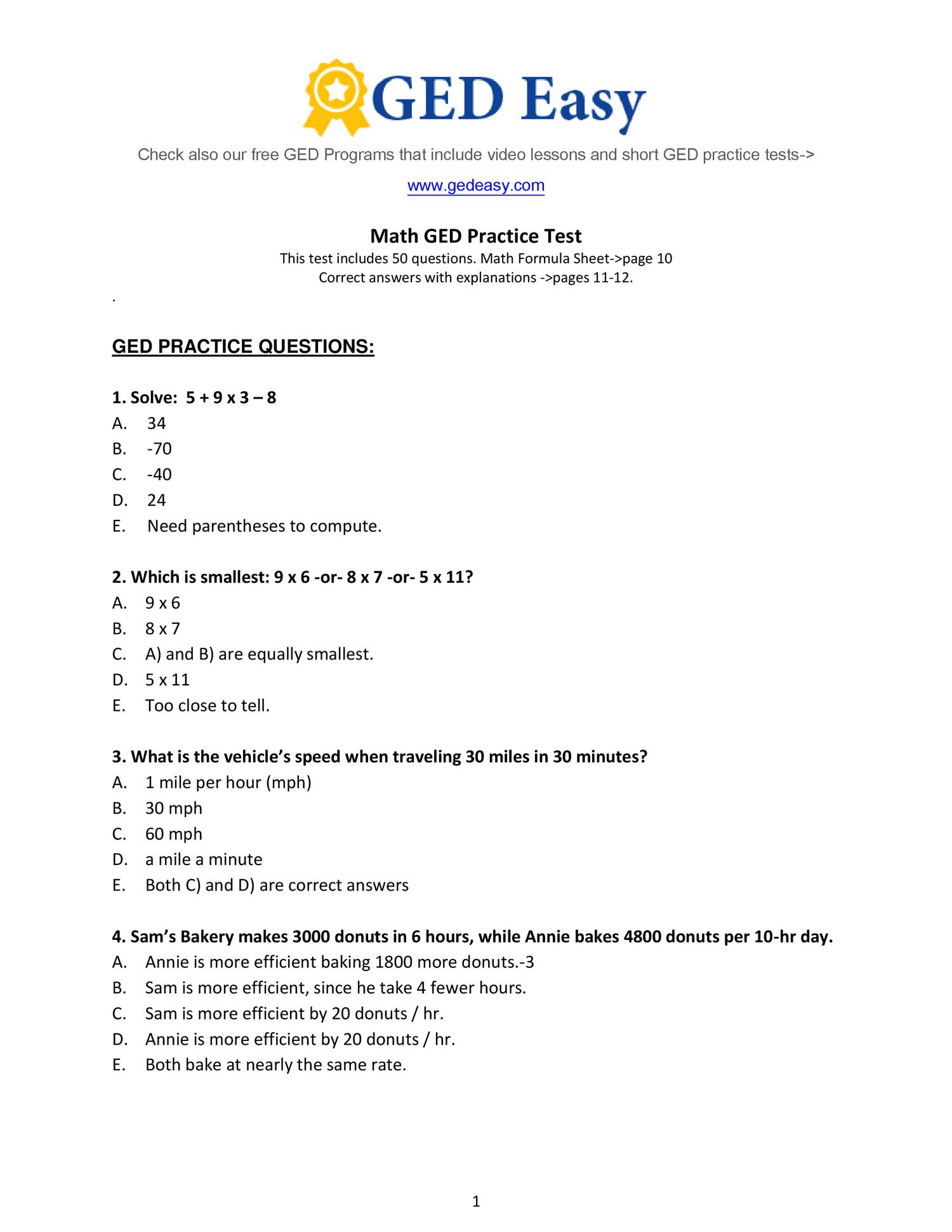 Pdf Printable Ged Practice Book | Wiring Library | Free Printable Ged Science Worksheets
