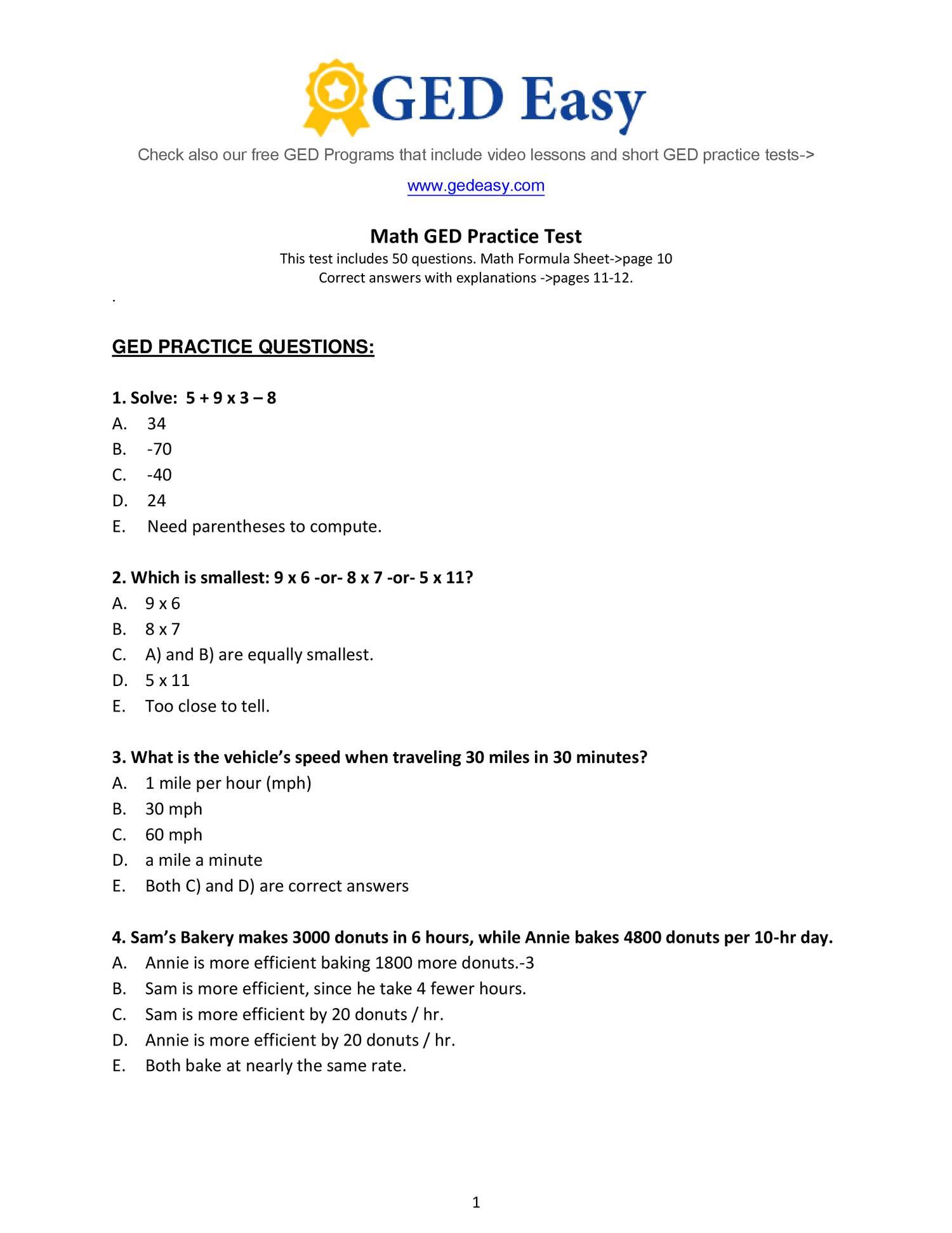 Pdf Printable Ged Practice Book | Wiring Library | Printable Ged Practice Worksheets