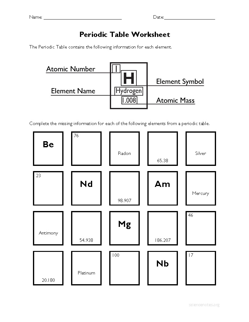 Periodic Table Worksheets | Free Printable Periodic Table Worksheets