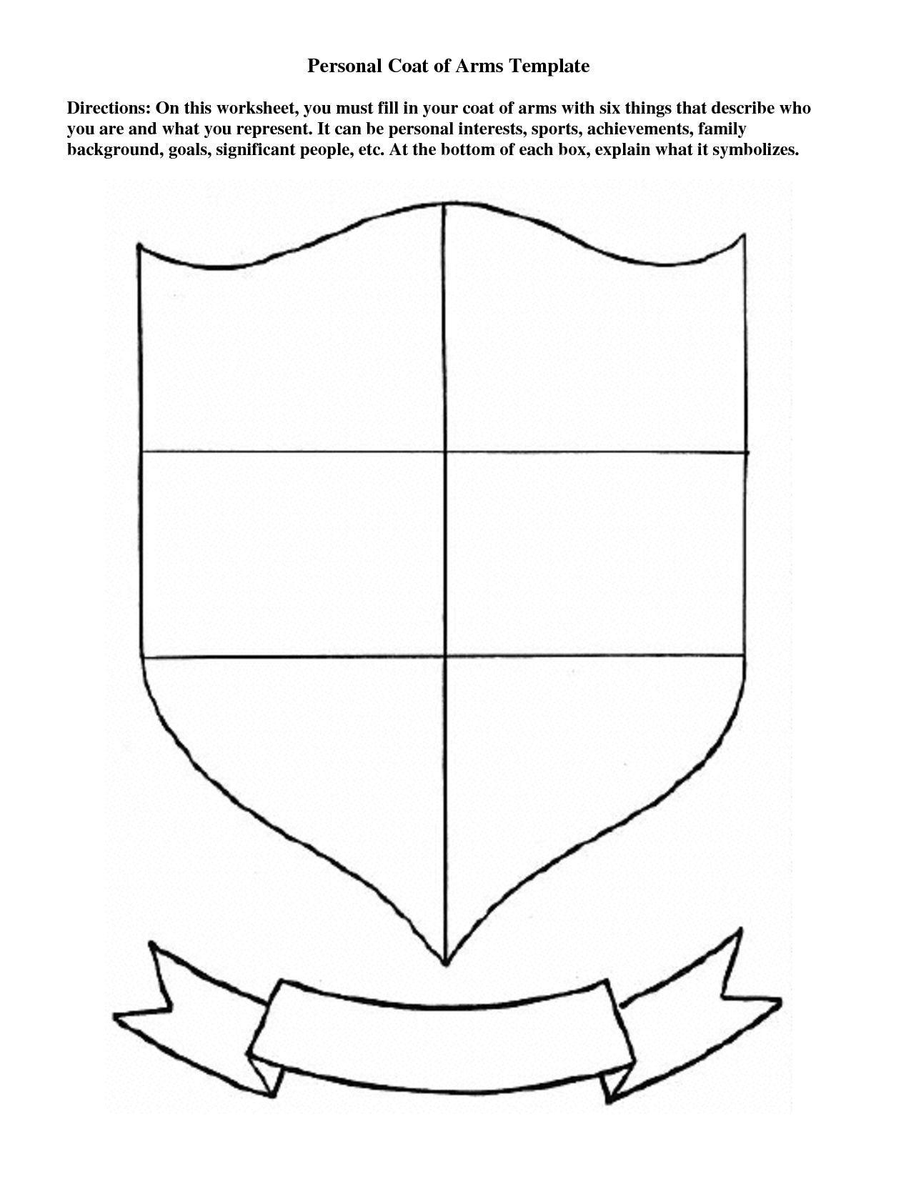 Personal Coat Of Arms Template | Education | Coat Of Arms, Art | Printable Coat Of Arms Worksheet