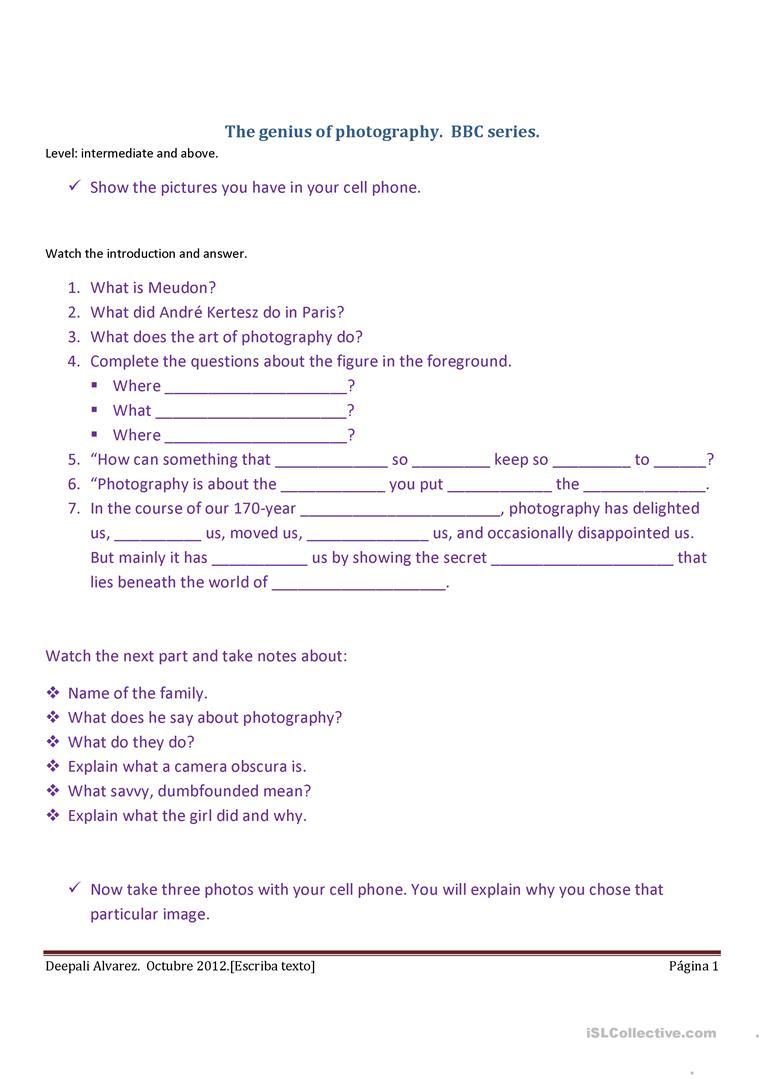 Photography Worksheet - Free Esl Printable Worksheets Madeteachers | Printable Photography Worksheets