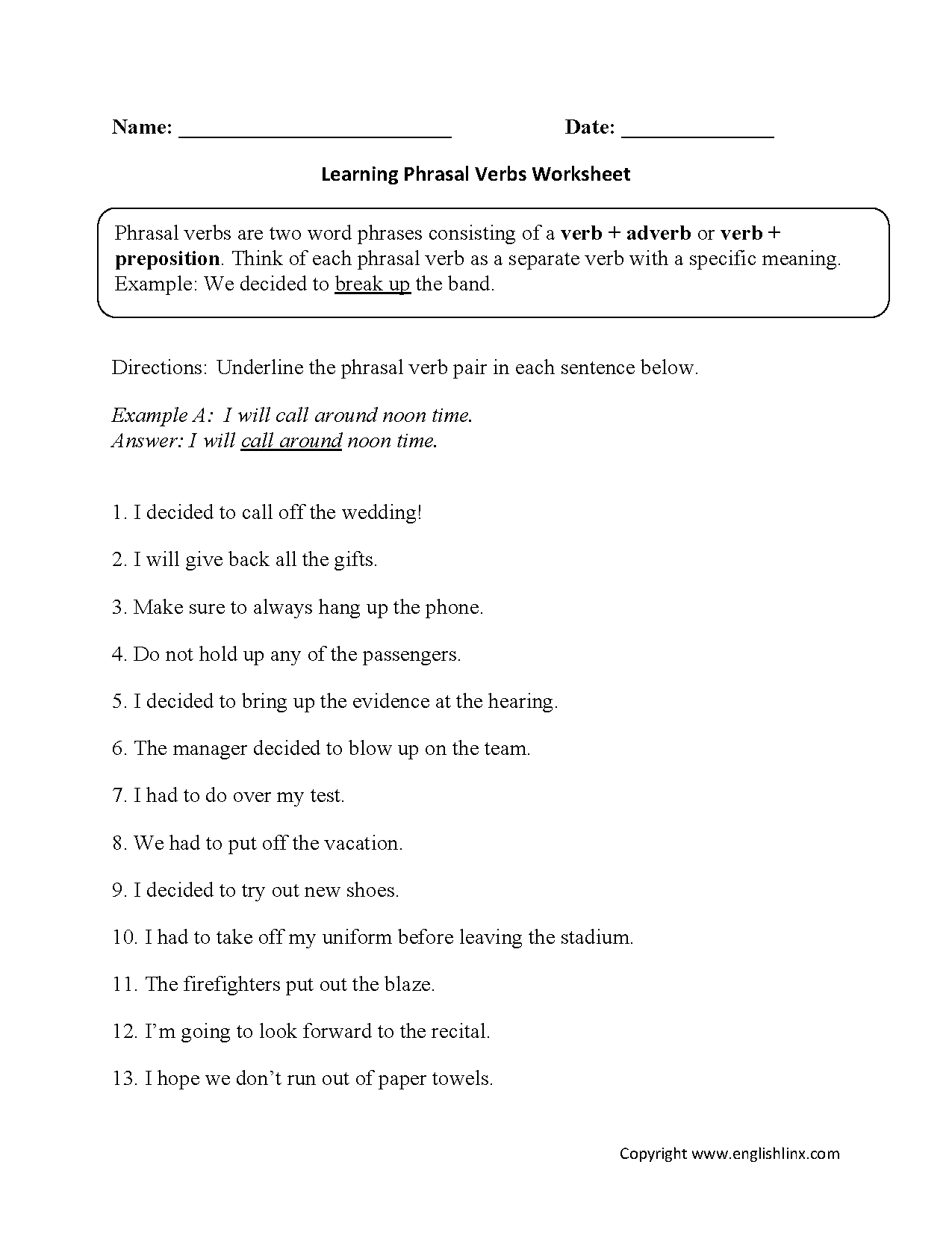 Phrasal Verbs Worksheets | 7Th Grade English | Verb Worksheets | Subject Verb Agreement Printable Worksheets High School