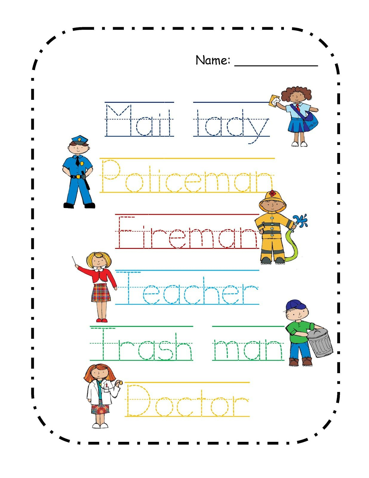 Pinbrenda Garcia-Galvez On Community Helpers Theme Pre K | Free Printable Community Helpers Worksheets For Kindergarten