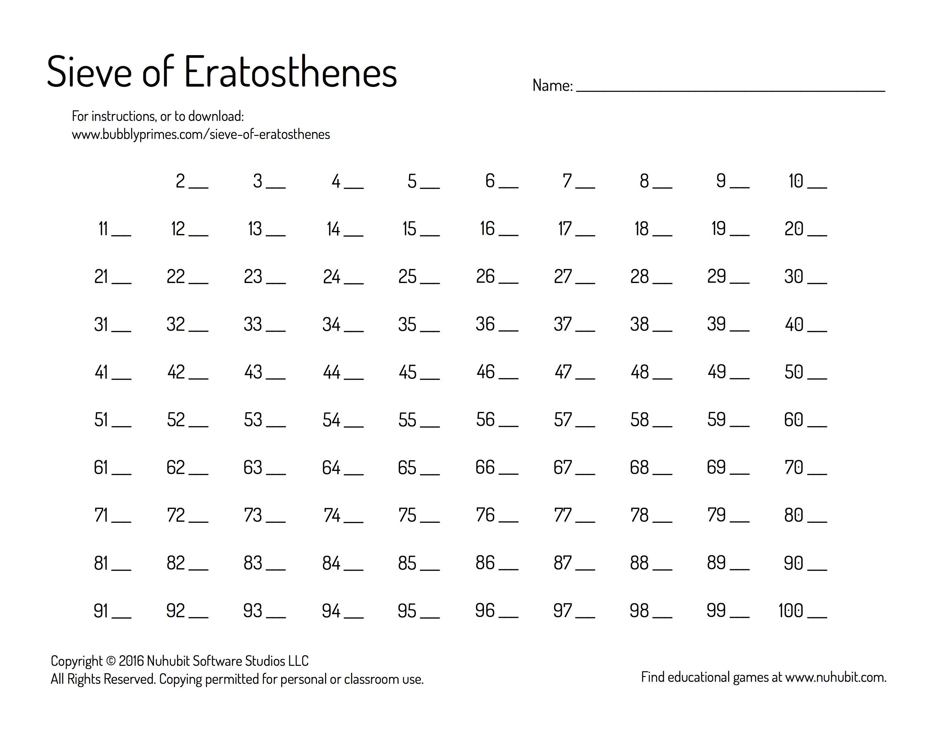 Pinbubbly Primes On Bubbly Primes | Fractions Worksheets | Sieve Of Eratosthenes Worksheet Printable