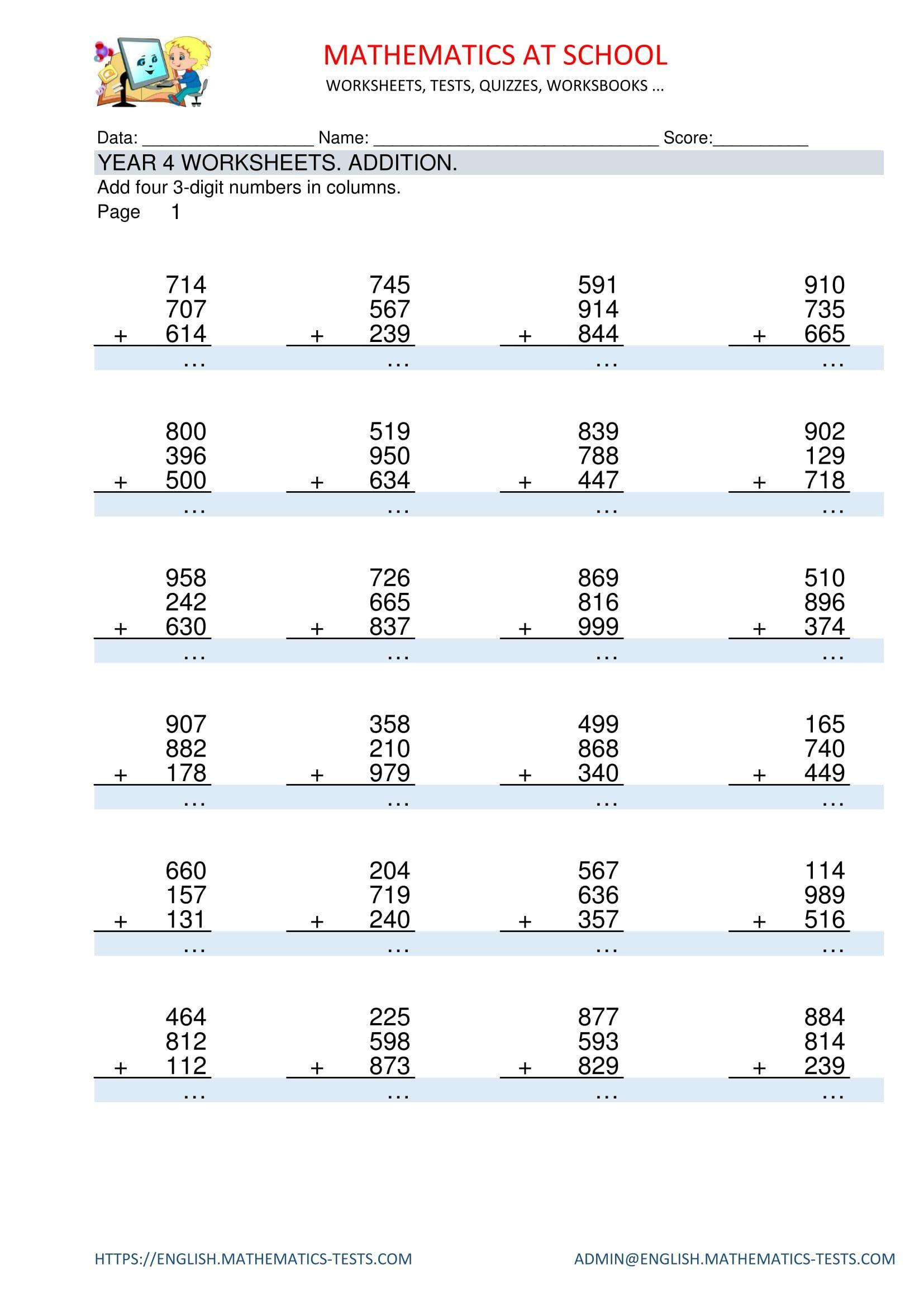 Pinenglish Maths On Year 4 Maths Worksheets And Printable Pdf | 4Th Grade Math Worksheets Printable Pdf