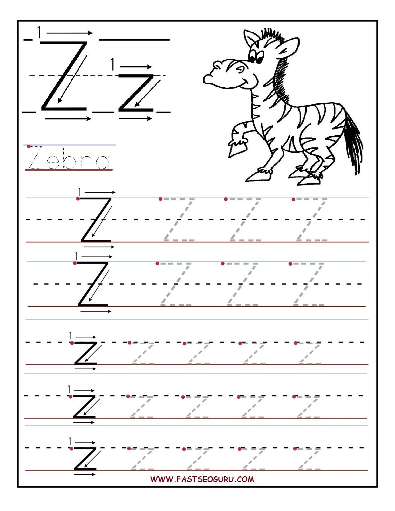 Pinvilfran Gason On Decor | Alphabet Worksheets, Letter Tracing | Letter Z Worksheets Free Printable