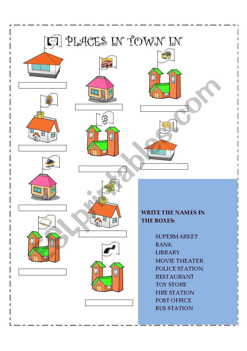 Places In Town - Esl Worksheetgaby_Mn | Places In Town Worksheets Printables