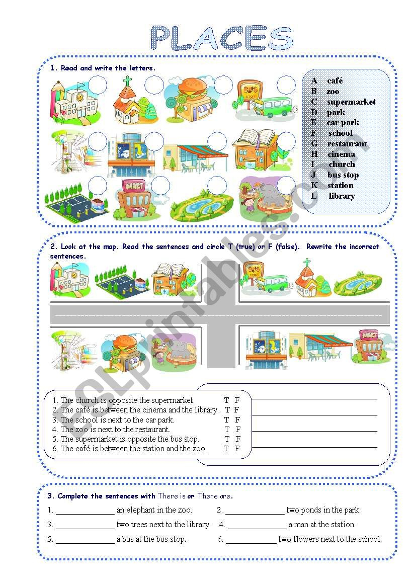 Places In Town - Esl Worksheetsilvanija | Places In Town Worksheets Printables