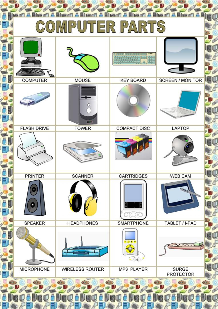 Poster - School - Computer Parts Worksheet - Free Esl Printable | Parts Of The Computer Worksheet Printable