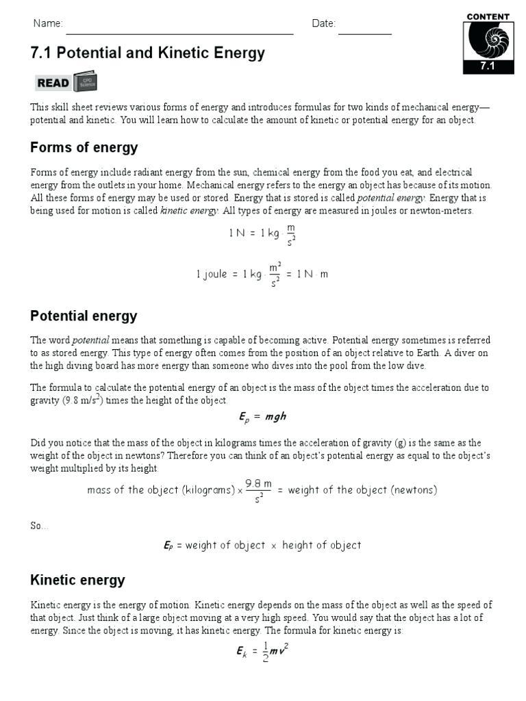 Potential Vs Kinetic Energy Worksheet Worksheets - Classy World | Free Printable Worksheets On Potential And Kinetic Energy