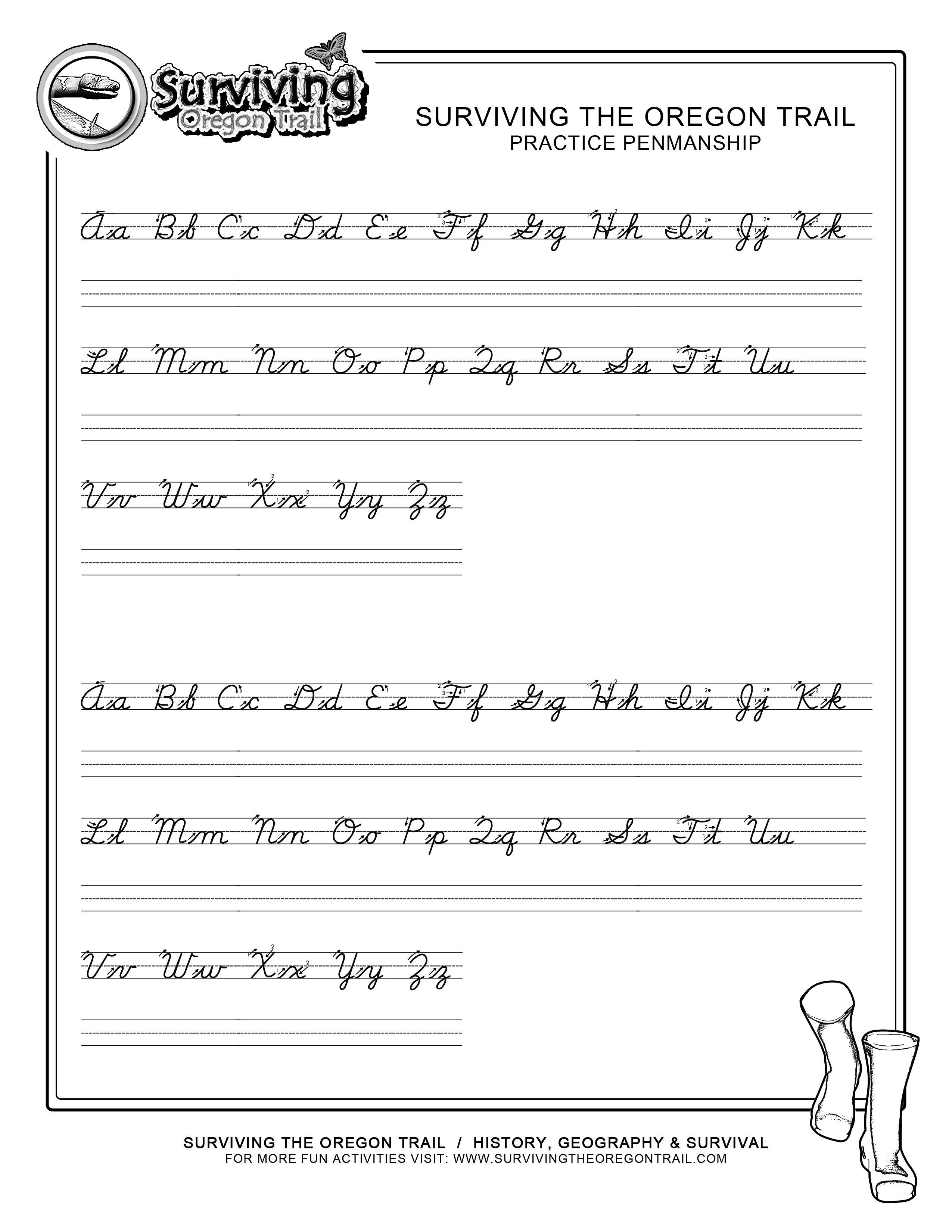 Practice Penmanship – Free Abc's Printable Cursive Writing Worksheet | Printable Penmanship Worksheets