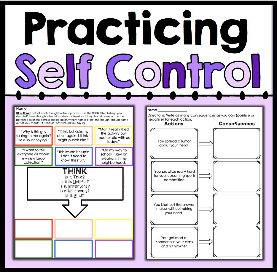 Practicing Self Control | Counselorchelsey On Tpt | Counseling | Impulse Control Worksheets Printable