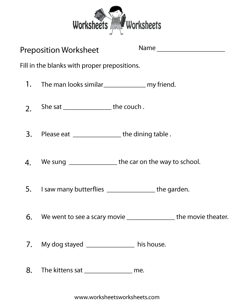 Preposition Worksheets | Two Ways To Print This Free Prepositions | Printable Preposition Worksheets