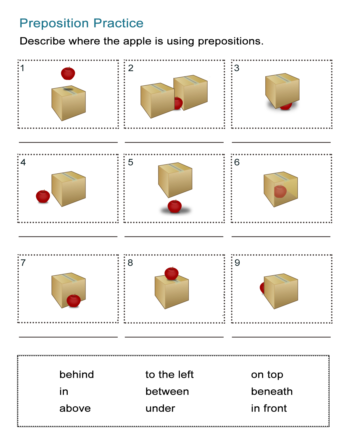 Prepositions Of Location Worksheet: Where Is The Apple? - All Esl   Free Printable Worksheets For Prepositions