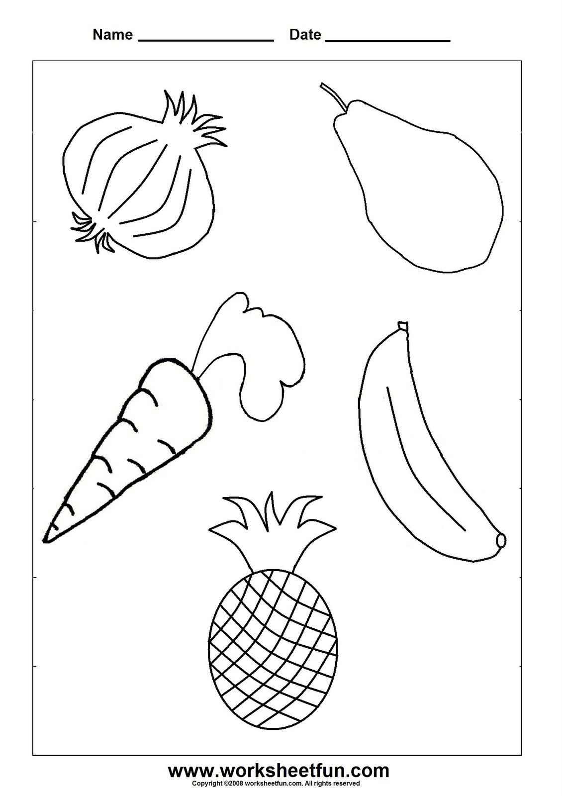 Preschool Fruits And Vegetables Worksheets – With Arts Crafts Also | Free Printable Arts And Crafts Worksheets