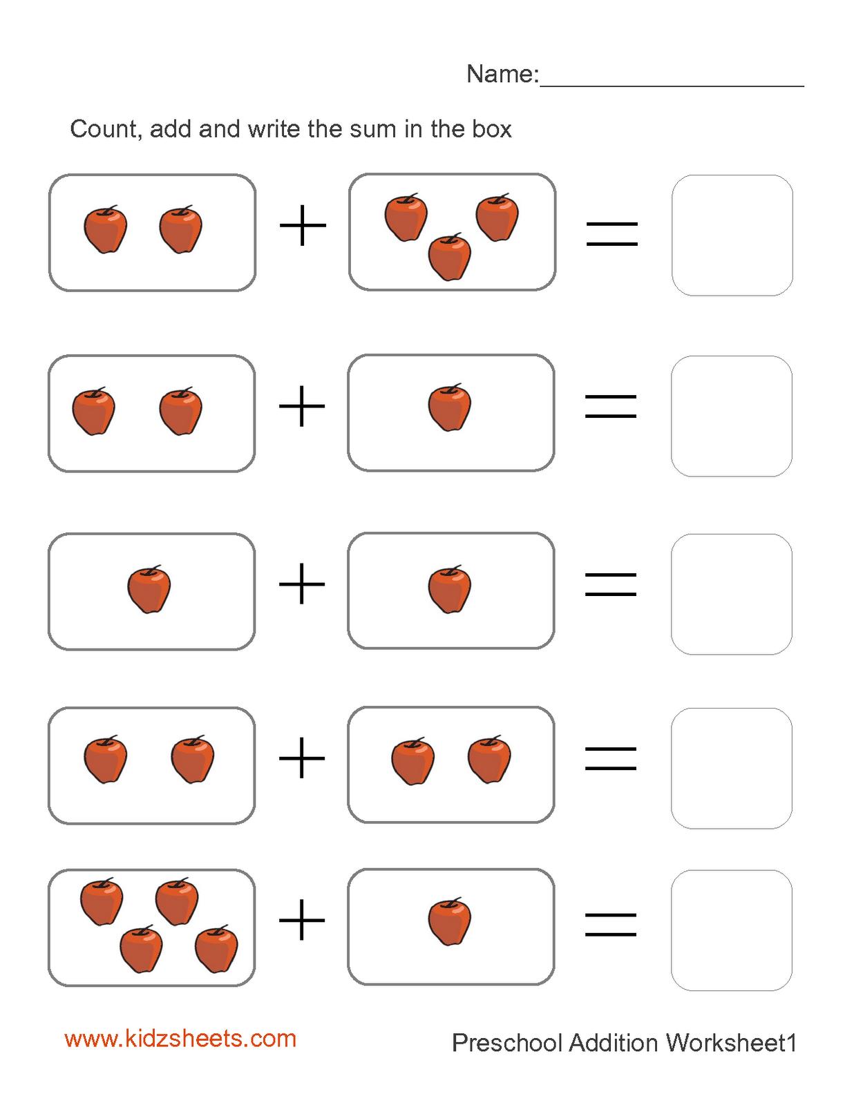 Preschool Printables | Printable Preschool Worksheets,free | Free Printable Preschool Addition Worksheets