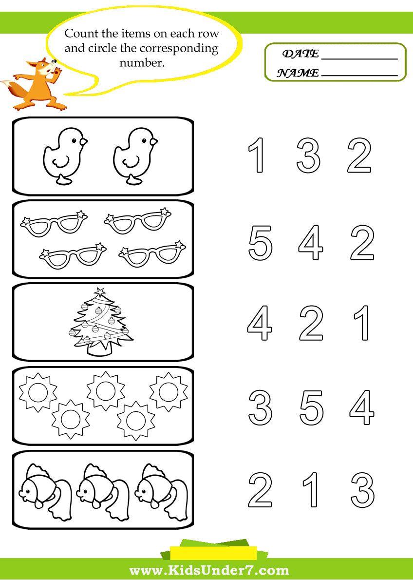 Preschool Worksheets | Kids Under 7: Preschool Counting Printables | Free Preschool Counting Worksheets Printable
