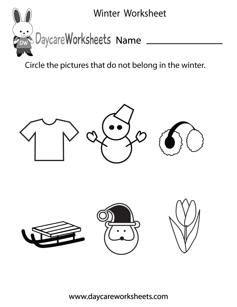 Preschoolers Have To Circle The Pictures That Do Not Belong In | Free Printable Winter Preschool Worksheets