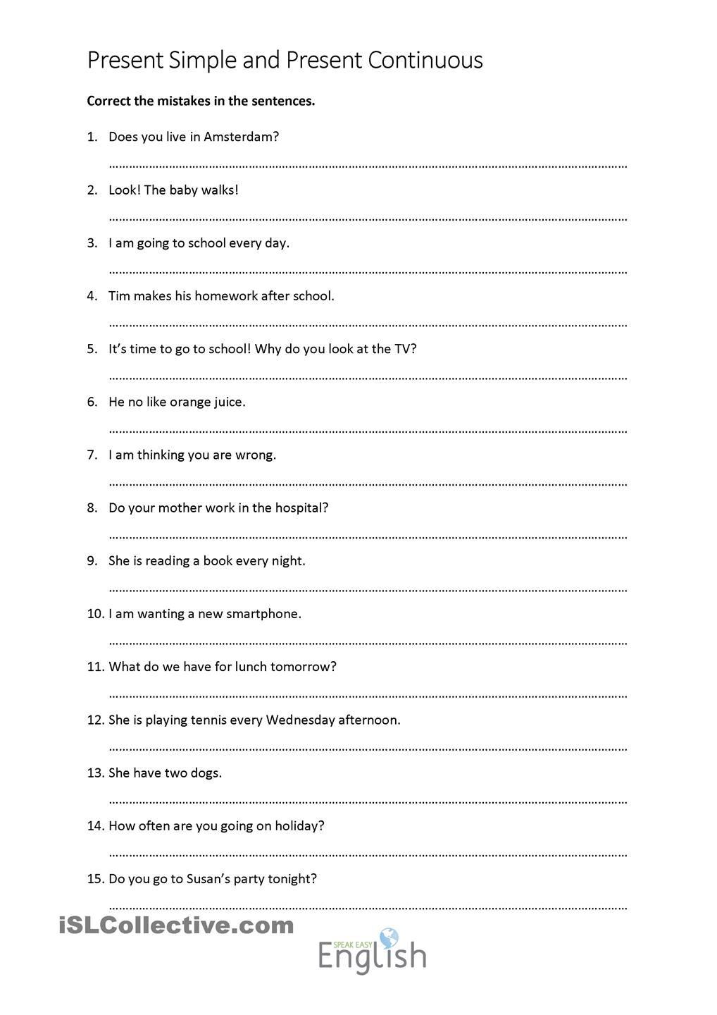 Present Simple/continuous Error Correction With Answers | Teaching | Free Printable Sentence Correction Worksheets