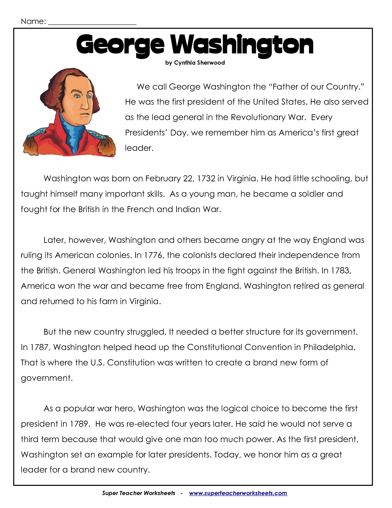 President's Day Coloring Worksheet | George Washington Worksheets | George Washington Printable Worksheets