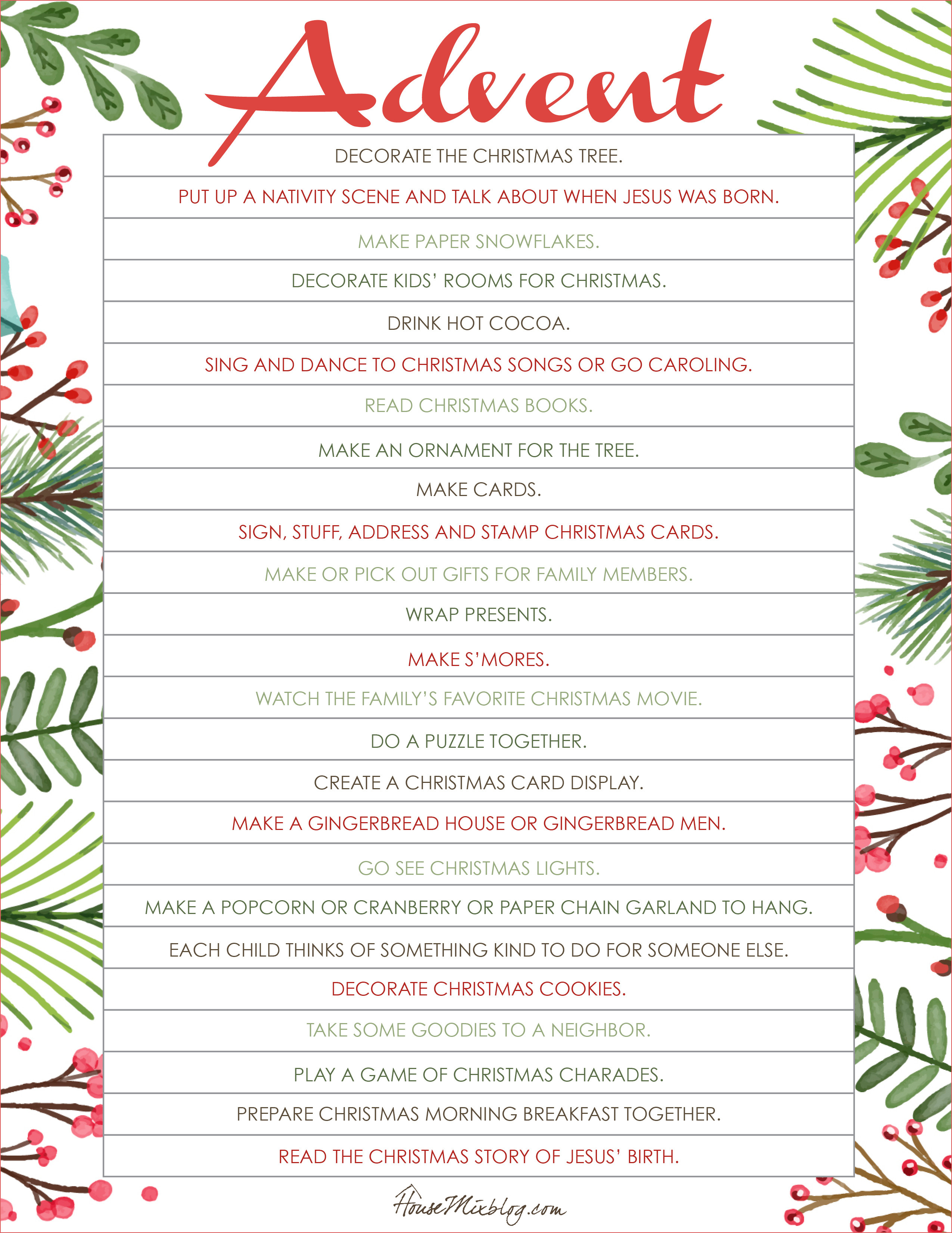 Printable Christmas Advent Calendar 7 Best Images Of Advent | Advent Printable Worksheets