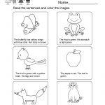 Printable Kindergarten Reading Worksheet   Free English Worksheet | Kindergarten Reading Printable Worksheets