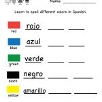 Printable Kindergarten Worksheets   Printable Spanish Worksheet   Printable Spanish Worksheets Answers