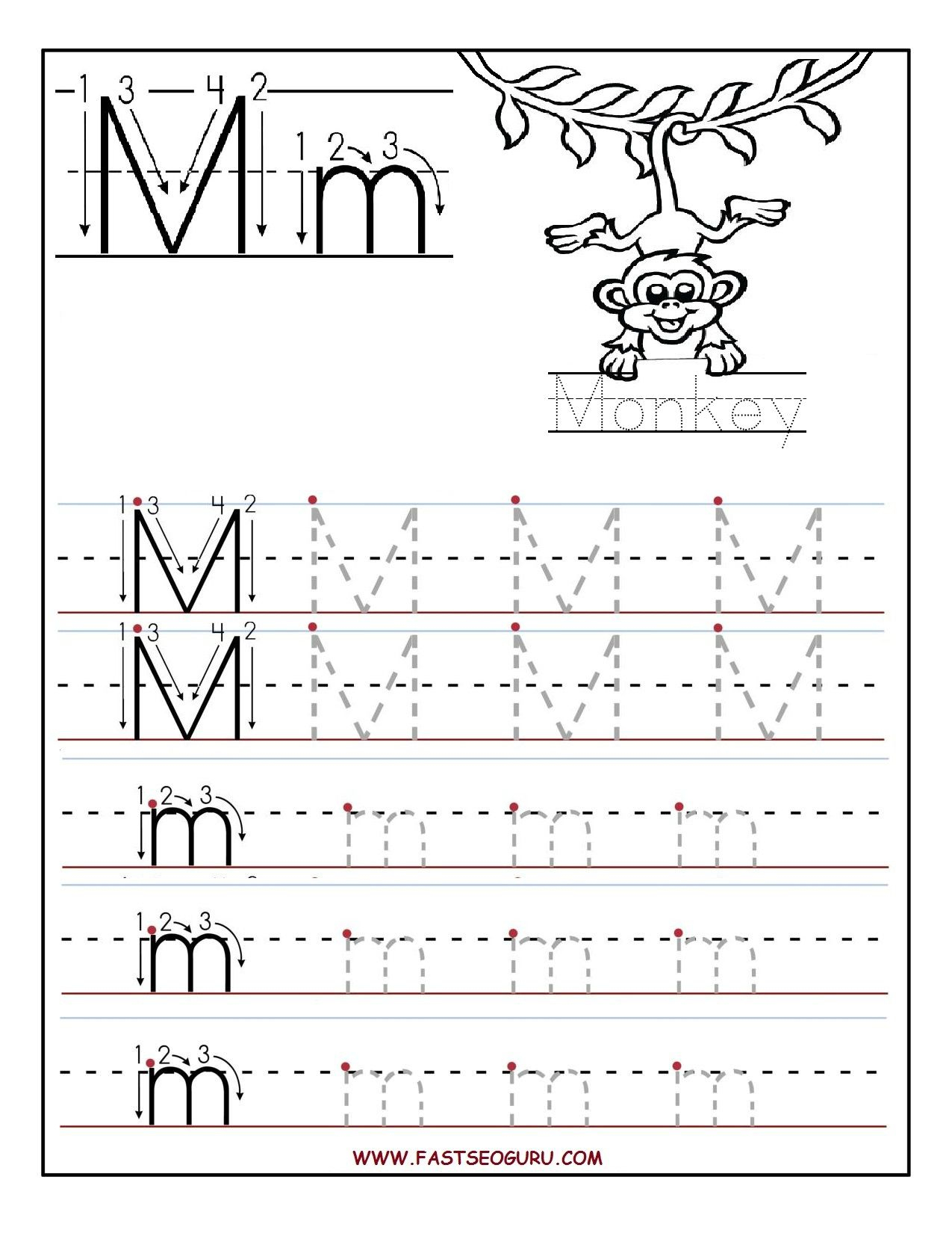 Printable Letter M Tracing Worksheets For Preschool | Pre School | Letter M Printable Worksheets