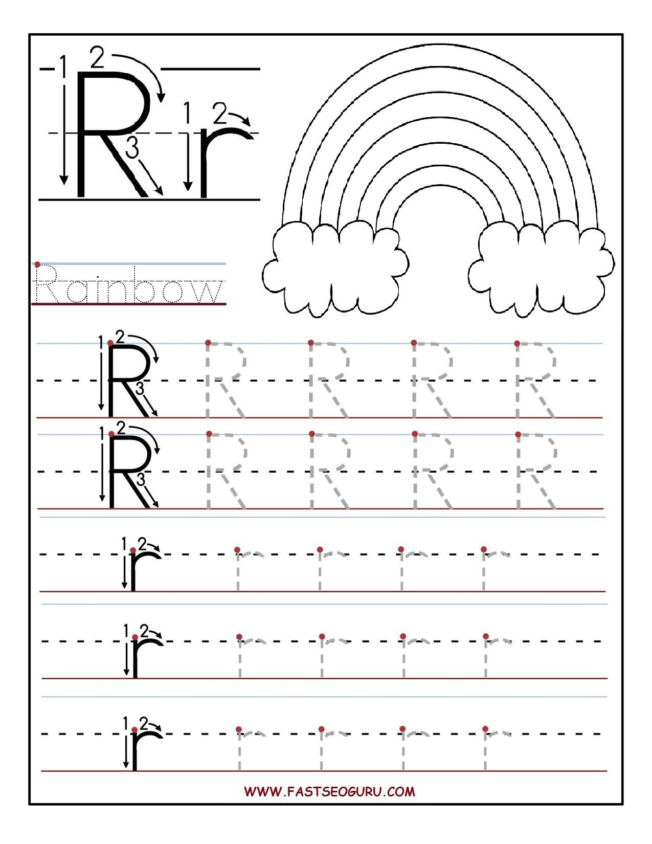 Printable Letter R Tracing Worksheets For Preschool | Teacher - Free | Free Printable Worksheets For Preschool Teachers