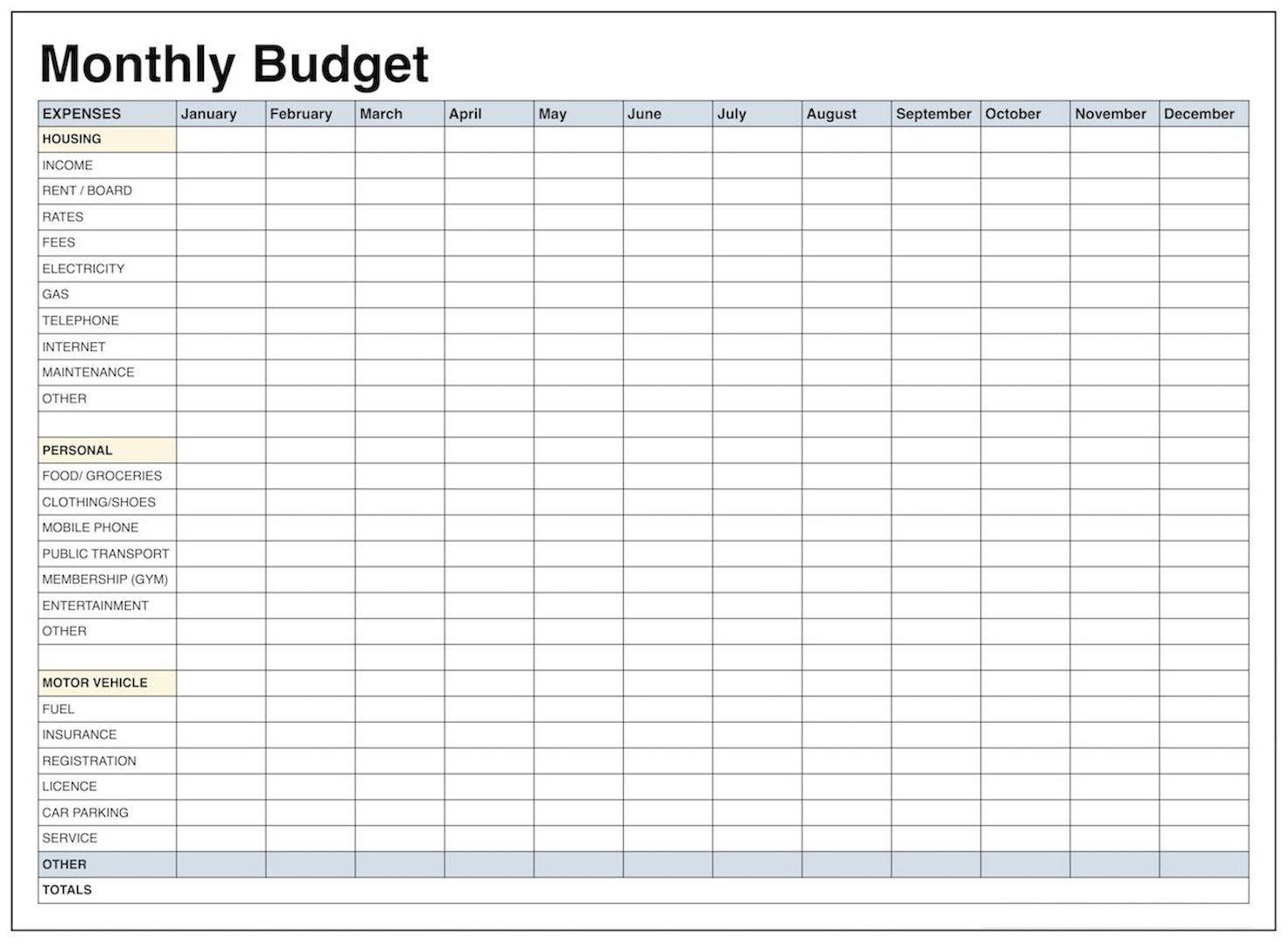 Printable Monthly Budget Worksheet Excel - Koran.sticken.co | Monthly Spending Worksheet Printable