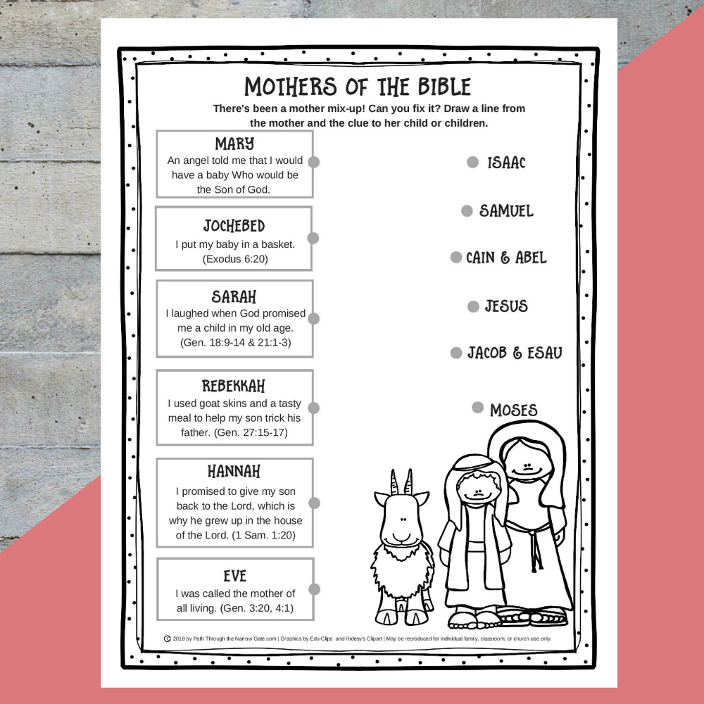 Printable Mothers Of The Bible Worksheet - Path Through The Narrow Gate   Printable Worksheets Miracles Jesus