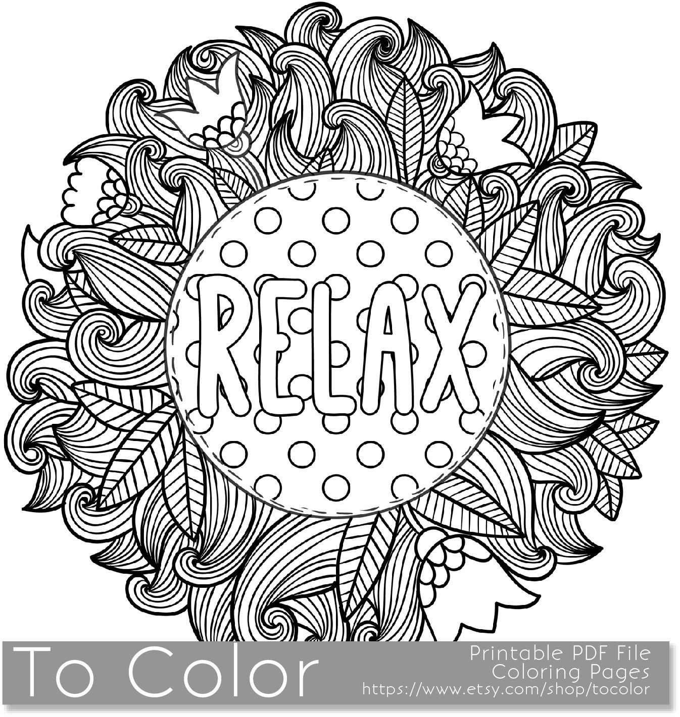 Printable Relax Coloring Page For Adults, Pdf / Jpg, Instant | Colouring Worksheets Printable Pdf