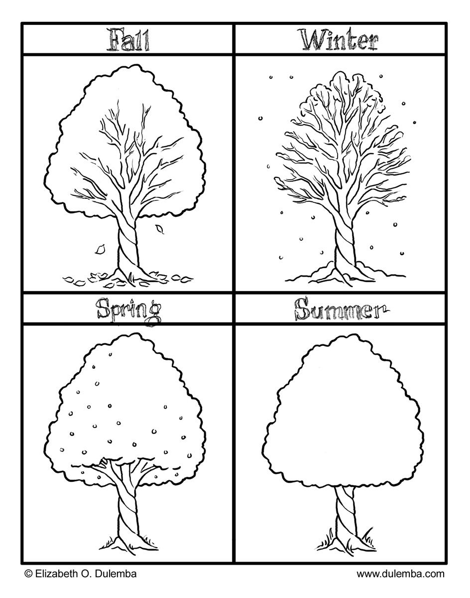 Printable Seasons Coloring Pictures With Fall Winter Spring And | Free Printable Seasons Worksheets