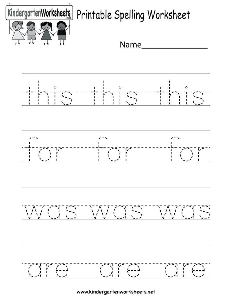Printable Spelling Worksheet - Free Kindergarten English Worksheet | Free Printable Worksheets For Kindergarten