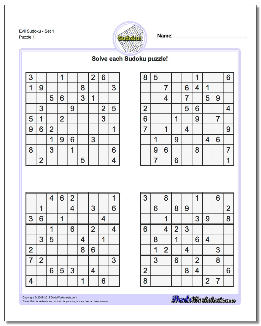 Printable Sudoku Puzzles | Room Surf | Printable Sudoku Worksheets