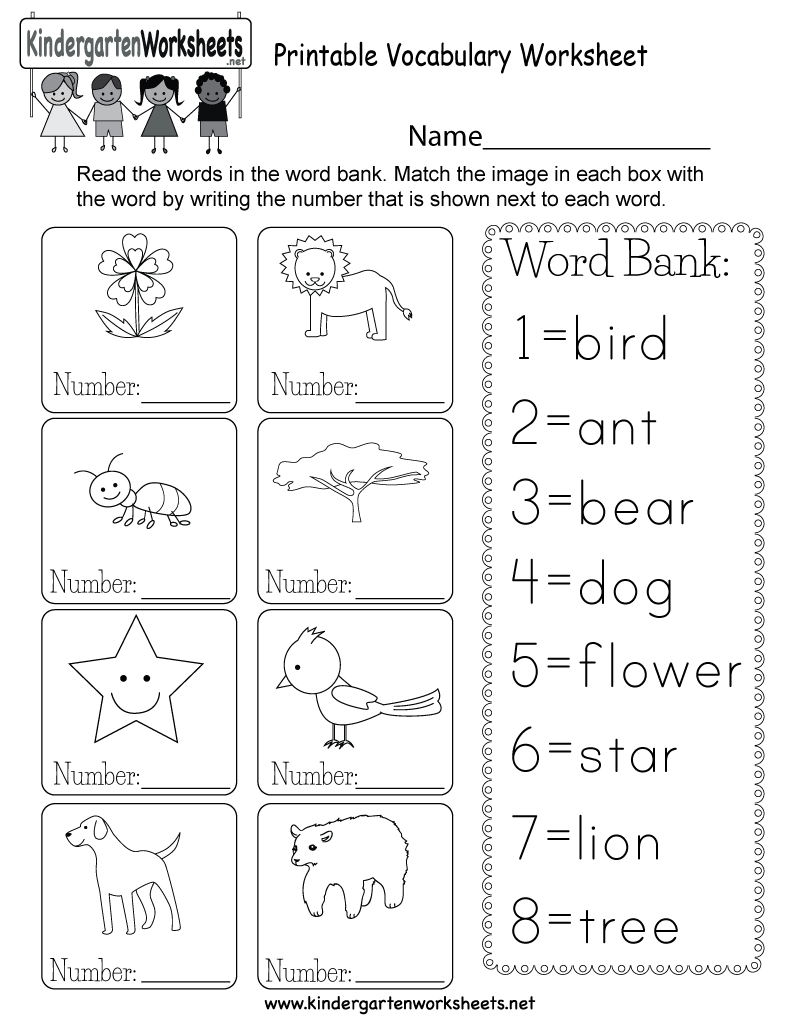 Printable Vocabulary Worksheet - Free Kindergarten English Worksheet | Free Printable Language Worksheets