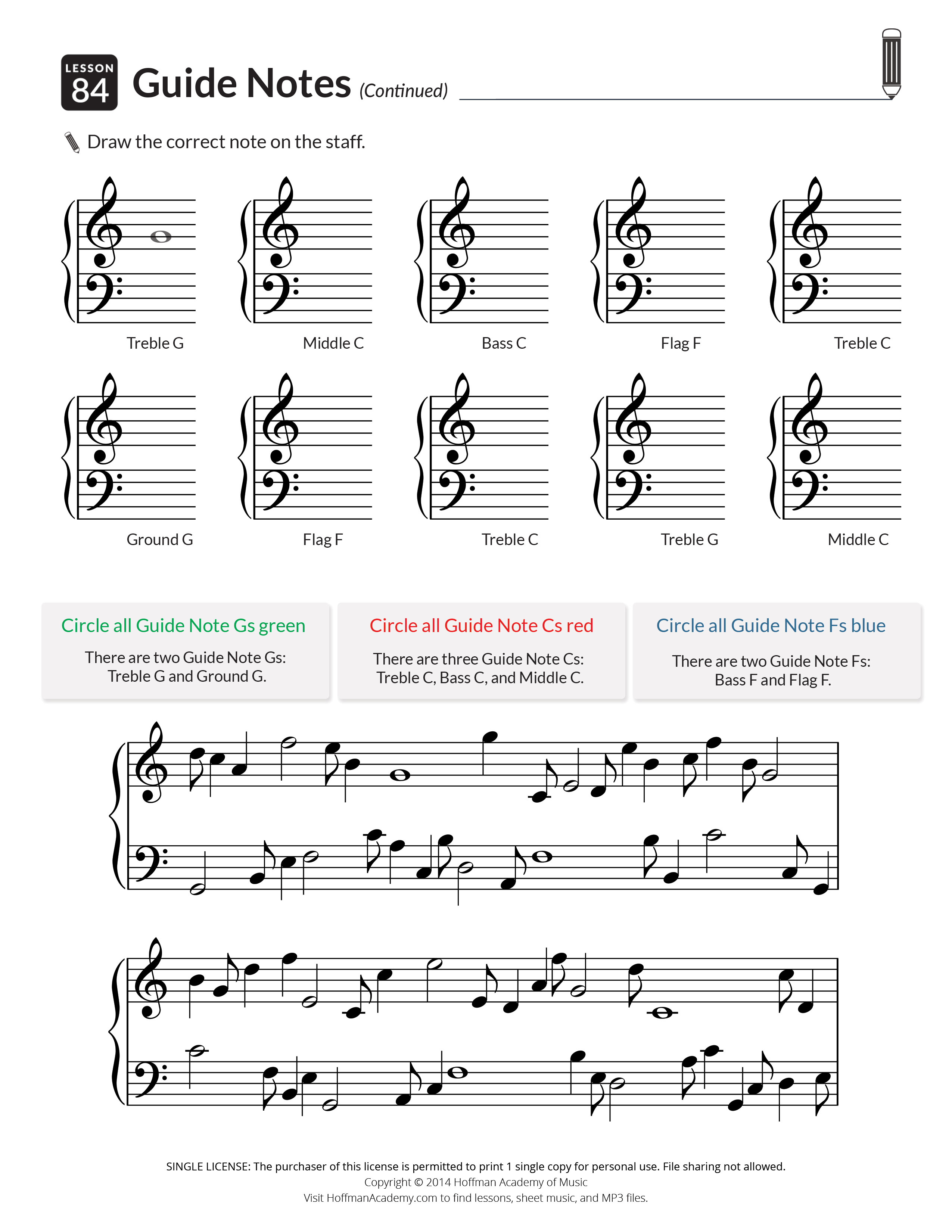 Printables & Audio For Piano Units 1-5: Lessons 1-100 - Hoffman | Beginner Piano Worksheets Printable Free