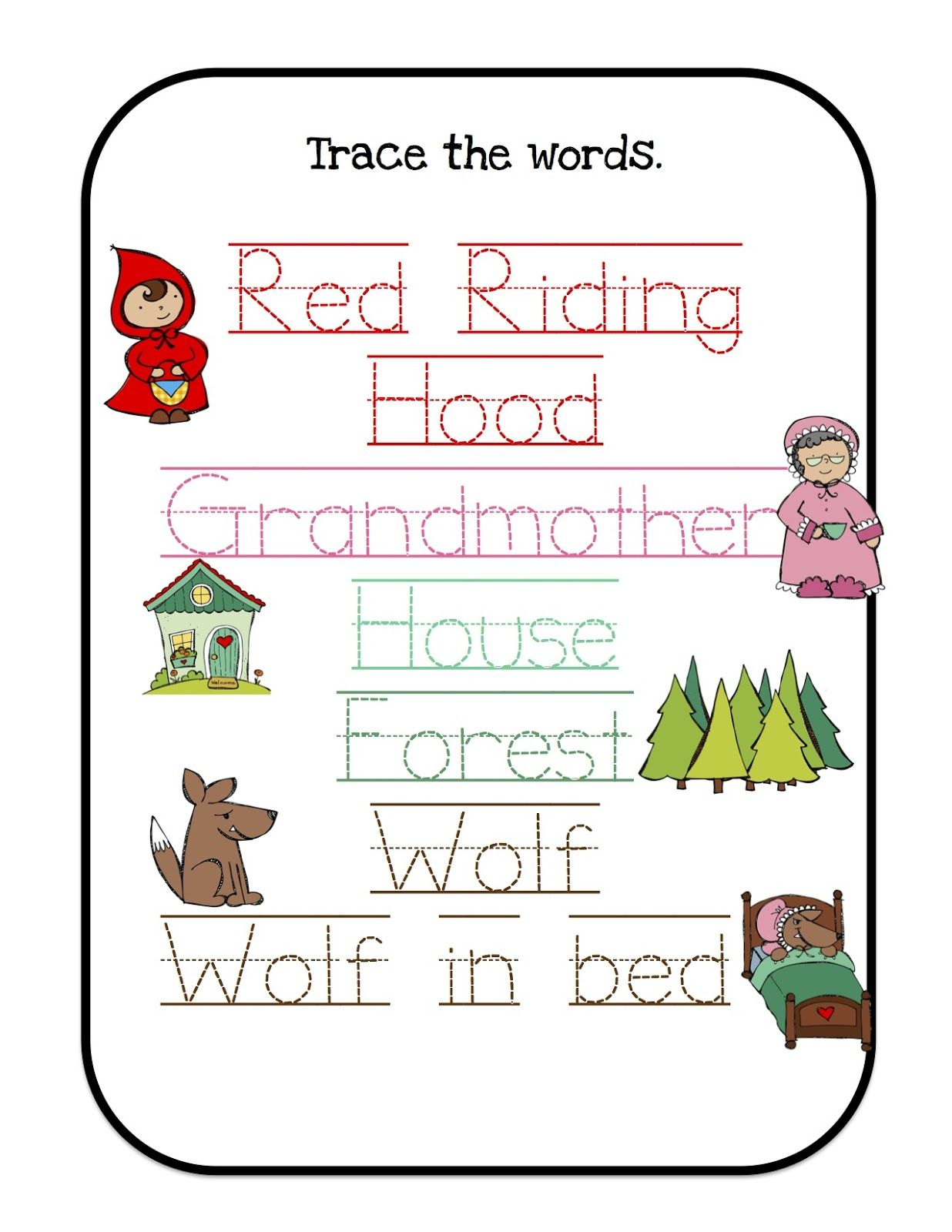 Printables For Many Units/themes I Would Use Little Red Riding Hood | Little Red Riding Hood Worksheets Printable