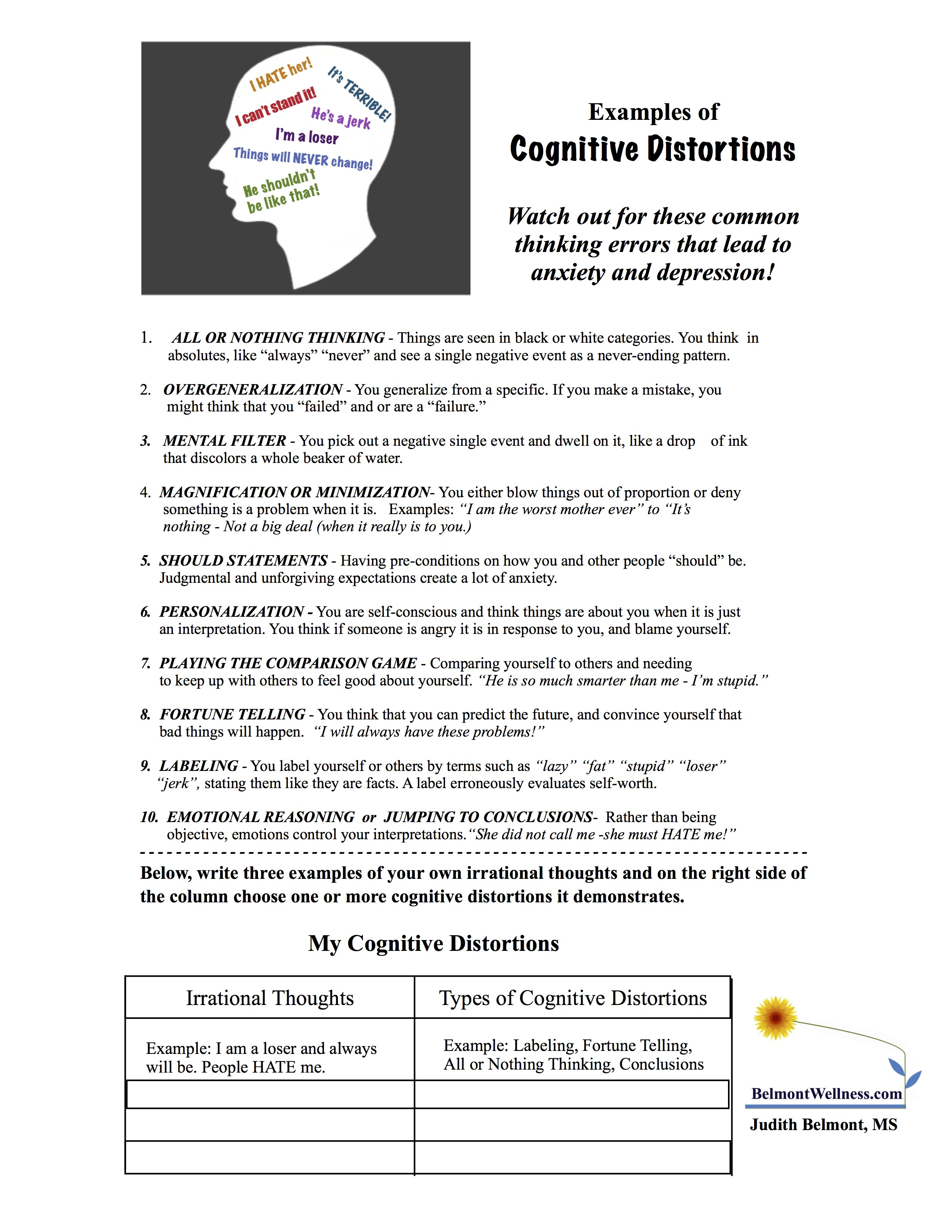 Psychoeducational Handouts, Quizzes And Group Activities | Judy | Printable Mental Health Worksheets For Adults