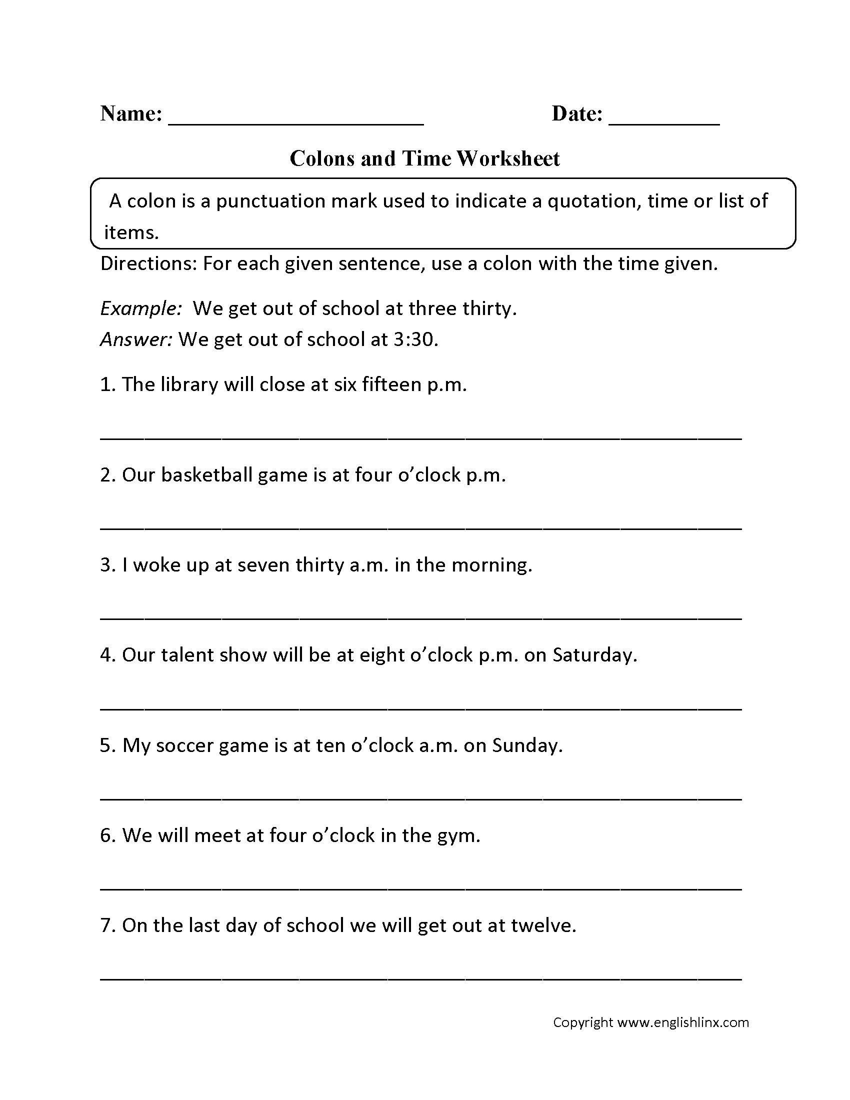 Punctuation Worksheets | Colon Worksheets | Grammar Worksheets Year 6 Printable