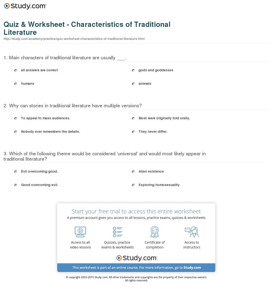 Quiz & Worksheet - Characteristics Of Traditional Literature   Study   Printable Literature Worksheets