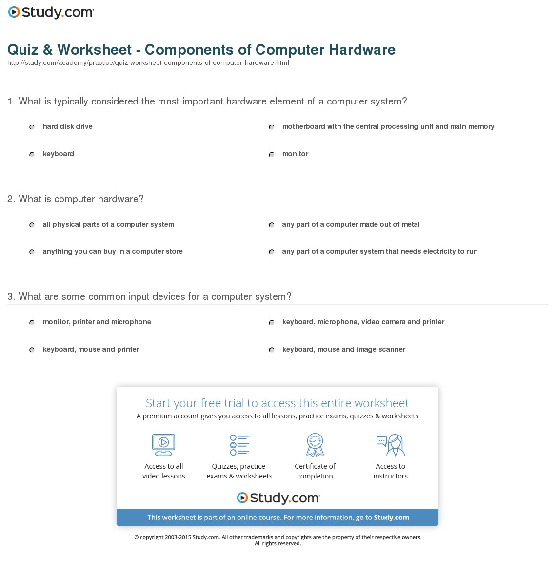 Quiz & Worksheet - Components Of Computer Hardware | Study | Parts Of A Computer Worksheet Printable
