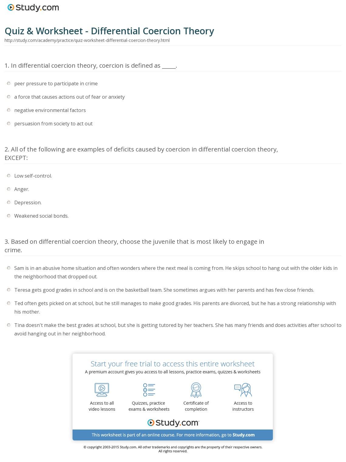 Quiz & Worksheet - Differential Coercion Theory   Study   Restorative Justice Printable Worksheets