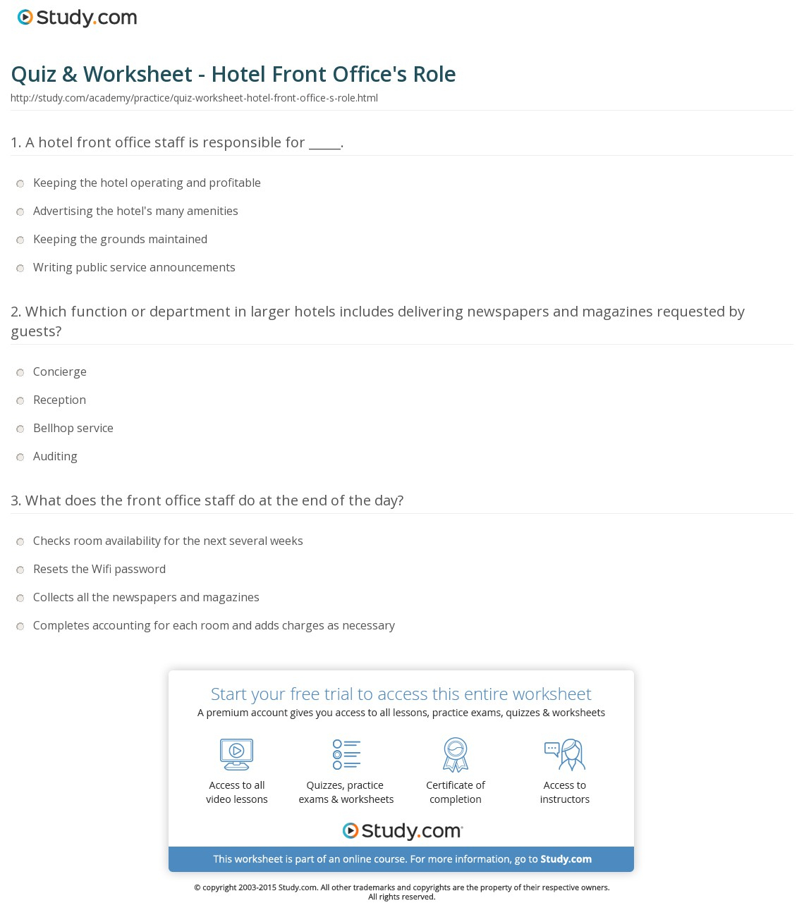 Quiz & Worksheet - Hotel Front Office's Role | Study | Hospitality Worksheets Printable