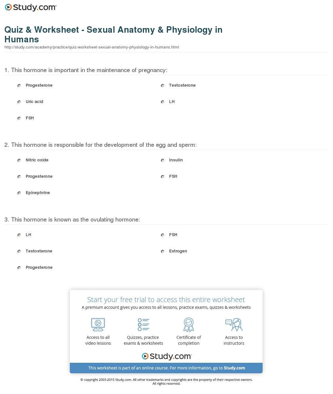 Quiz & Worksheet - Sexual Anatomy & Physiology In Humans   Study   Anatomy And Physiology Printable Worksheets