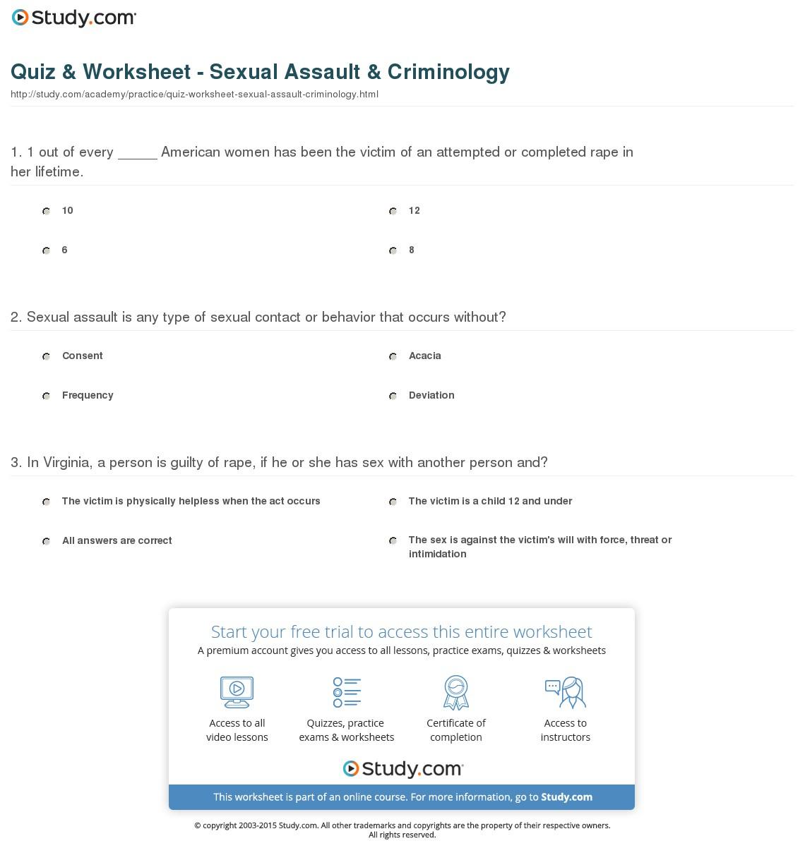 Quiz & Worksheet - Sexual Assault & Criminology | Study | Restorative Justice Printable Worksheets